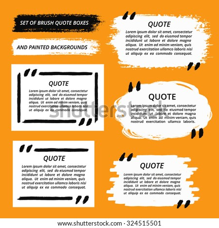 Vector Quote Boxes set. Painted strips, round, square. Distress texture. Brush stroke frames for your text. White grunge speech bubbles. Artistic label, badge, poster. Isolated on orange background. - stock vector