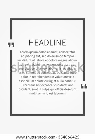 Vector Quote Sample Text Template Grey Stock Vector