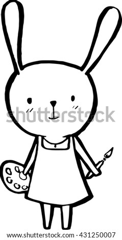 Vector Rabbit Painter Painting And Palette White Background
