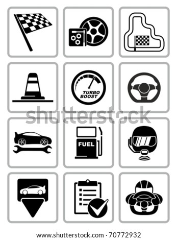 Vector racing equipment icons set. All white areas are cut away from icons and black areas merged. - stock vector