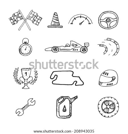 Vector racing icons in a drawing style. Set - stock vector