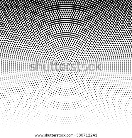 Vector radial halftone black background pattern on white. Abstract vector black and white dotted halftone background. Dot pattern - stock vector