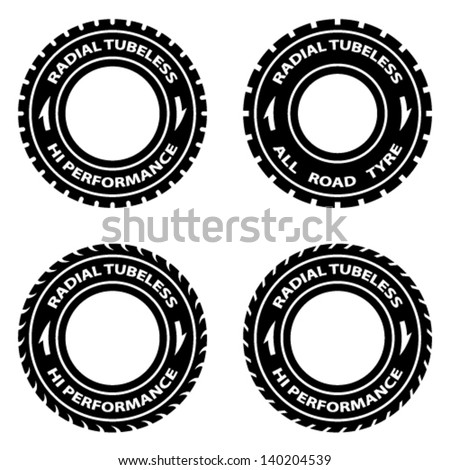 vector radial tubeless hi performance tyre symbols - stock vector