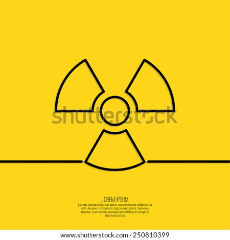 Vector radiation symbol on a yellow background. minimal. Outline. - stock vector