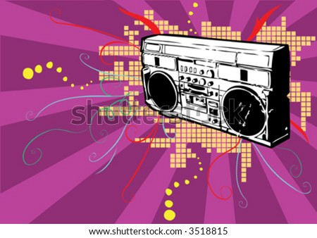 vector radio cassette player with equalizer effect and swirls-music non-stop - stock vector