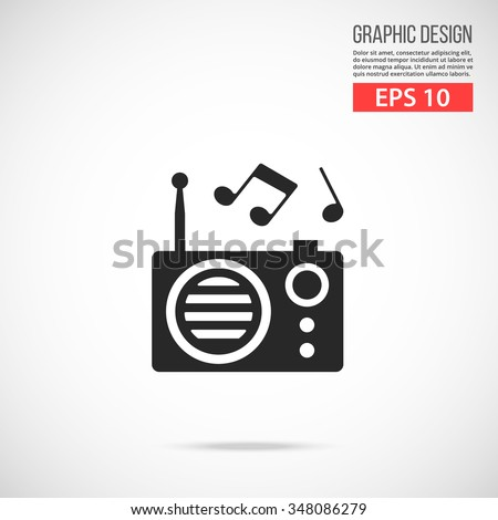 Vector radio icon. Black icon pictogram. Modern flat design vector illustration, quality concept for web banners, web and mobile applications, infographics. Vector icon isolated on gradient background - stock vector