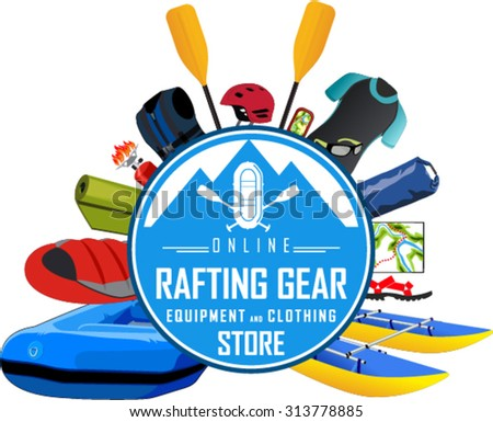 vector rafting gear store emblem with type design and clothing and equipment - stock vector