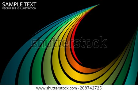 Vector rainbow abstract background curved template - Curved vector rainbow peak illustration - stock vector
