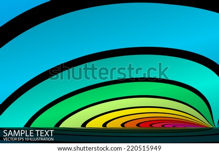 Vector rainbow abstract background reflected arcs  illustration - Abstract vector rainbow colorful striped template - stock vector