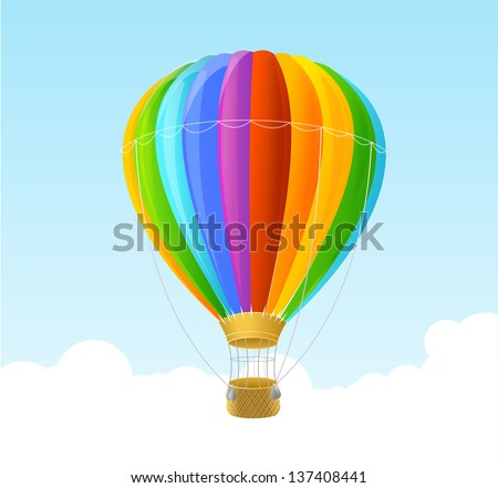 Vector rainbow air ballon background - stock vector