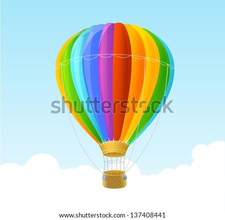 Vector rainbow air ballon background - stock vector