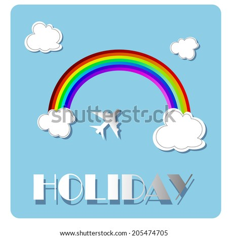 Vector Rainbow Background with Airplane