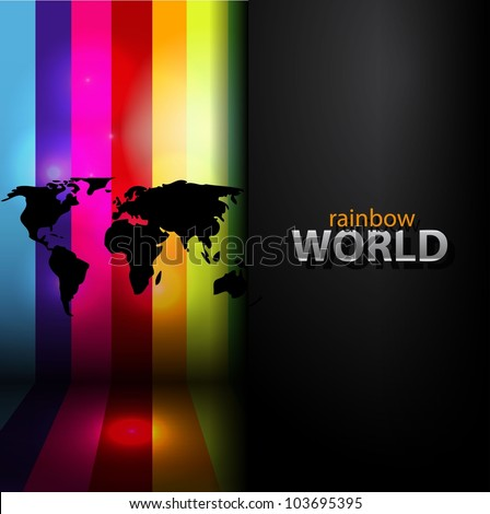 Vector rainbow background with black map silhouette - stock vector
