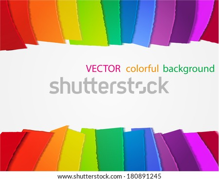 vector rainbow background with colored papers - stock vector