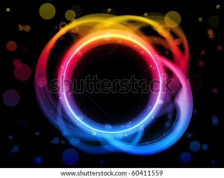 Vector - Rainbow Circle Border with Sparkles and Swirls. - stock vector