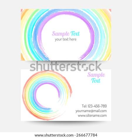 Vector rainbow color business card template stock vector 2018 vector rainbow color business card template reheart Choice Image