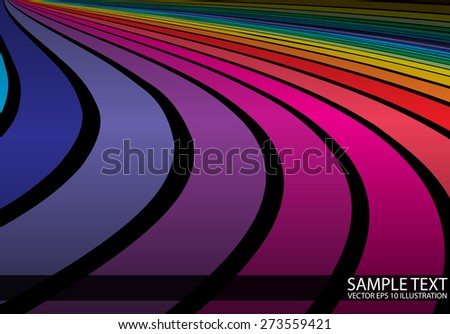 Vector rainbow colorful background illustration template - Vector color abstract background striped illustration - stock vector