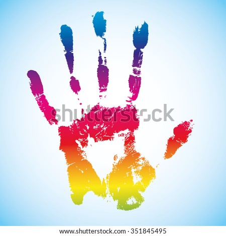 Vector rainbow colorful ink hand print design template