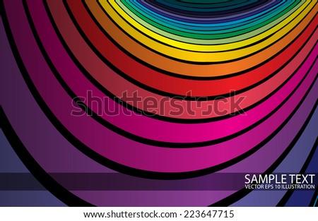 Vector rainbow design background template - Vector colorful rainbow background illustration - stock vector