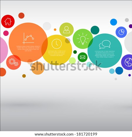 Vector rainbow diagram with various descriptive circles - infographic template - stock vector