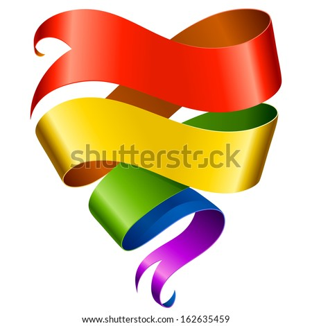 Vector rainbow ribbon in the shape of heart isolated on white background - stock vector