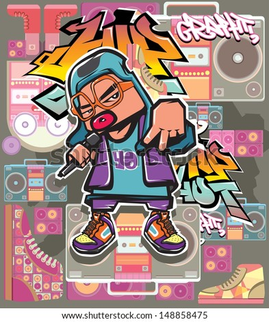 vector rap hip hop graffiti character  - stock vector