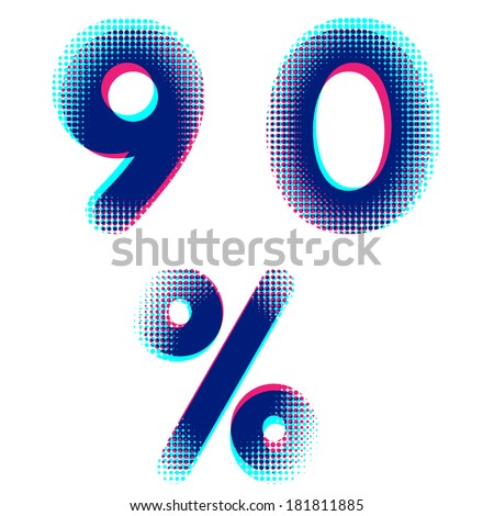 Vector raster halftone dot numbers - stock vector