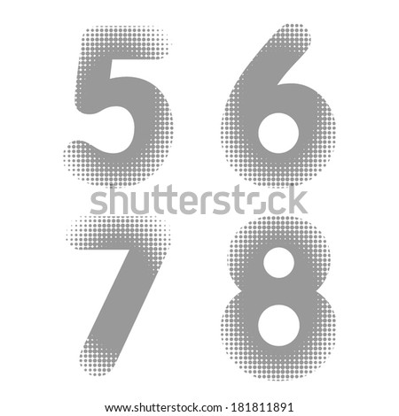 Vector raster halftone dots numbers - stock vector