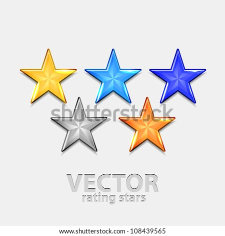 Vector rating stars 5 colors - stock vector