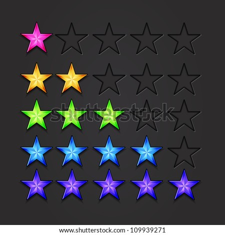 Vector rating stars 5 colors set - stock vector