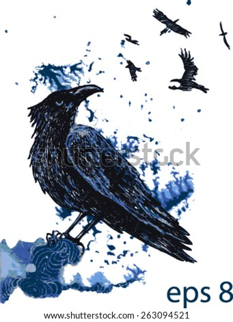 Vector raven handmade drawing on a blue watercolor splash background. - stock vector