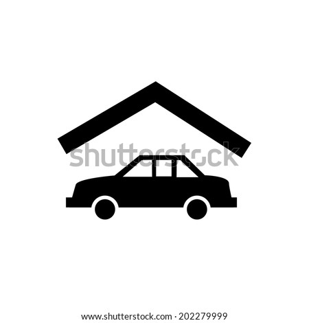 vector real estate car in garage icon | modern flat design black pictogram isolated on white background - stock vector