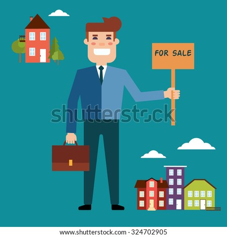 Vector real estate concept in flat style. Agent for the sale of real estate holding a portfolio and a sign saying the sale of real estate. Supply and demand in the city and outside the city - stock vector