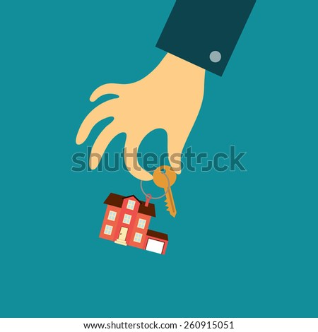 Vector real estate concept in flat style - hand of a real estate agent holding a key with a tag in the form of home - stock vector