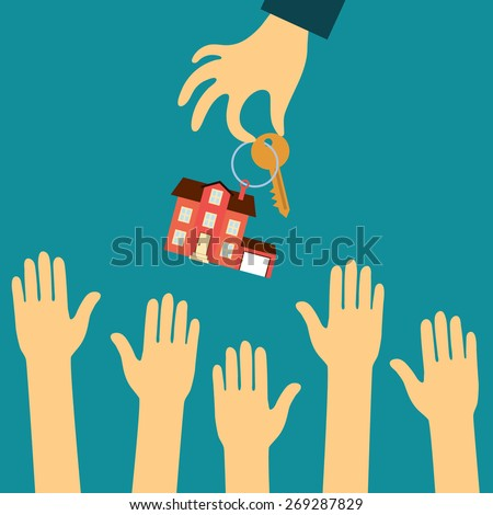 Vector real estate concept in flat style - hand real estate agent holding holds a key with a tag in the form of homes, and buyers are pulling your hands. Demand and supply - stock vector
