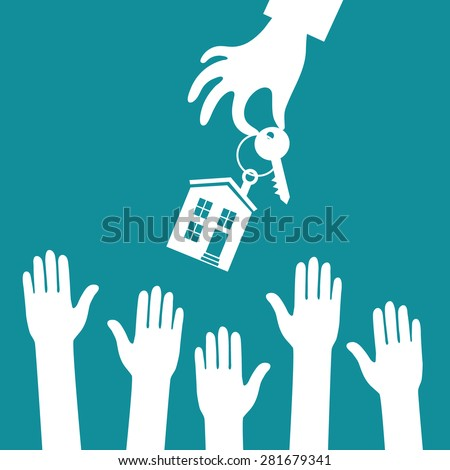 Vector real estate concept in flat style - hand real estate agent holding holds a key with a tag in the form of homes, and buyer is pulling his hands. Demand and supply - stock vector
