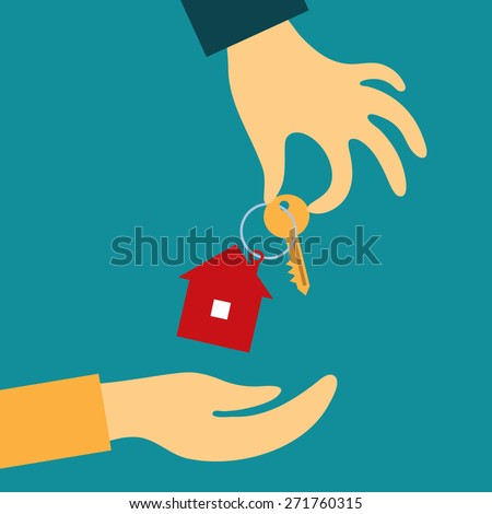 Vector real estate concept in flat style - hand real estate agent holding transmits a key with a tag in the form of a home buyer