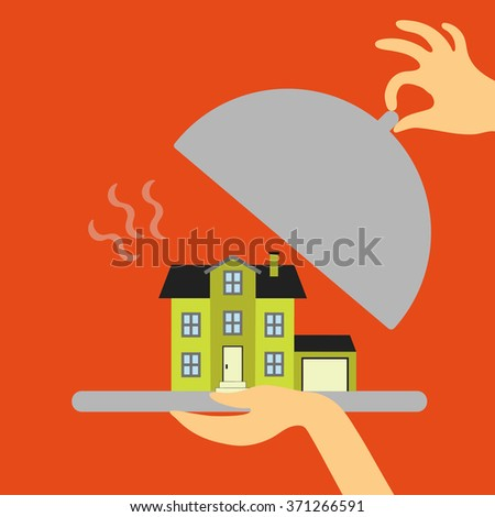 Vector real estate concept in flat style - hand real estate agent or a waiter holding a plate of hot offer - new home. Demand and supply - stock vector