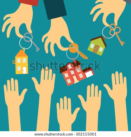 Vector real estate concept in flat style. Hands of buyers are drawn to the hands of real estate agents that hold the various keys and key chains in the form of houses. Demand and supply  - stock vector