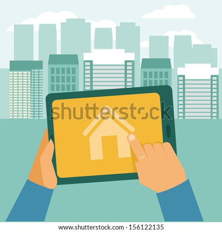 Vector real estate concept - searching house for rent - icon in flat style - stock vector