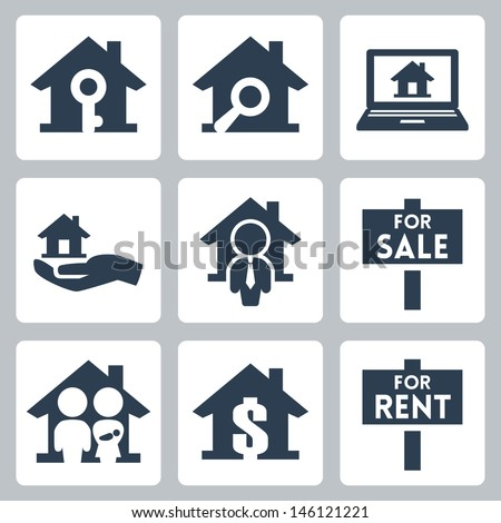 Vector real estate icons set - stock vector