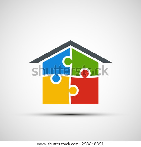 Vector real estate in the form of puzzles - stock vector