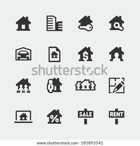 Vector real estate mini icons set - stock vector
