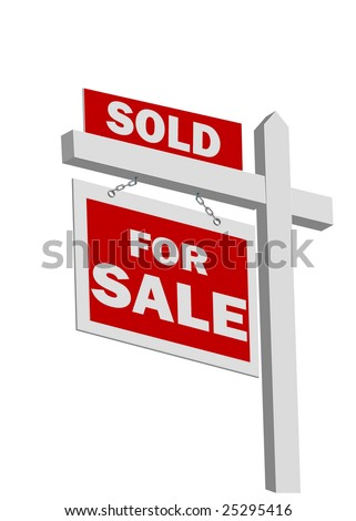 Vector Real estate sold sign - stock vector