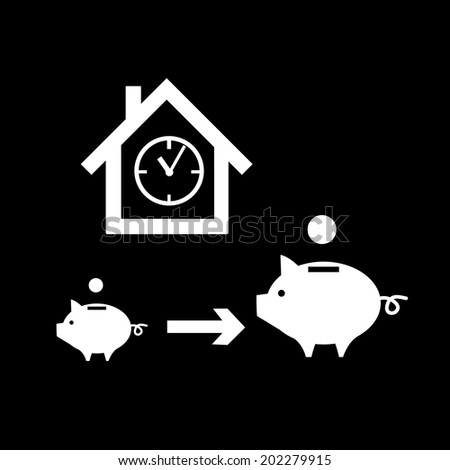vector real estate time valuation icon piggy money box and profit getting bigger during time | modern flat design white pictogram isolated on black background