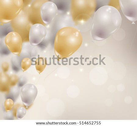 Vector realistic balloons flying in the air. Gold and silver helium ballons, blurred bokeh, sparkles. Birthday, party celebration concept.