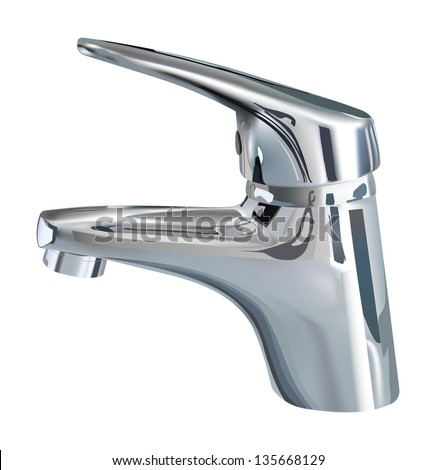 vector realistic bathroom tap on white background, gradient mesh used, raster version available - stock vector