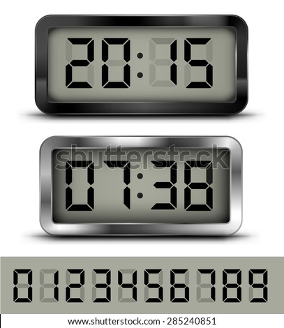 Vector realistic black and chrome digital clock and number set - stock vector