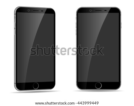 Vector realistic black phone (mock up) for logos, designs, apps, icons isolated on white. Mobile Phone vector illustration with side view. Cellphone, smartphone iphone style. - stock vector