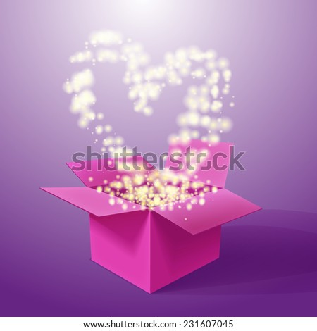 Vector realistic blank bright opened pink box with heart. For your valentines day or love presents design. - stock vector
